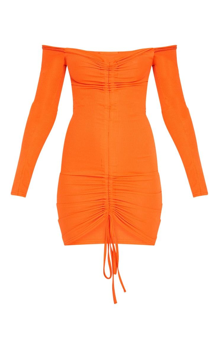 Orange Ribbed Long Sleeve Bardot Ruched Bodycon Dress 3