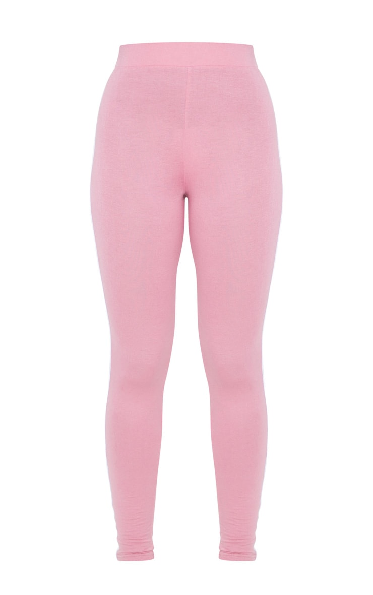 Dusty Pink Contrast Binding Tie Waist Detail Leggings 5