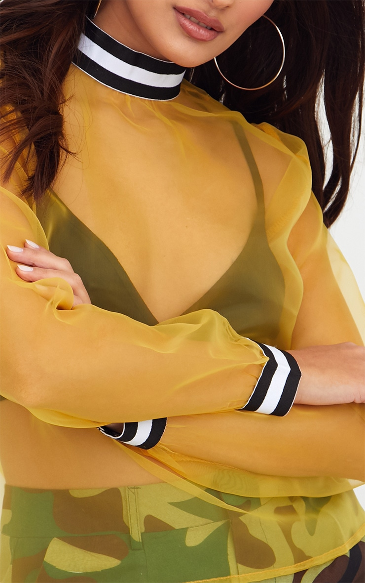 Yellow Sheer Organza Sport Trim Top 5
