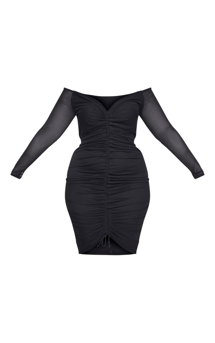 Plus Black Mesh Ruched Bardot Midi Dress  5