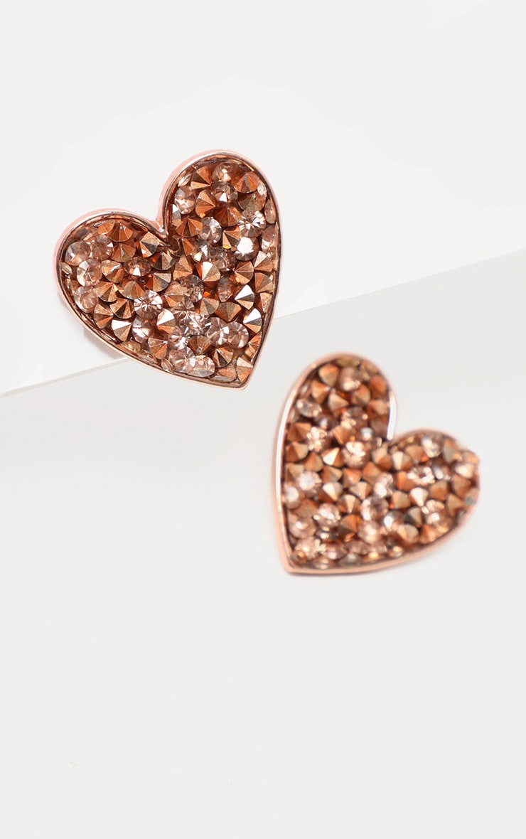 Rose Gold Crystal Cluster Heart Earring 3