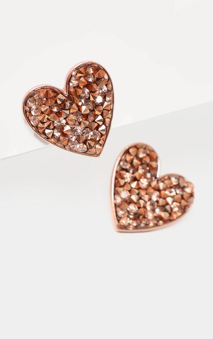 Boucles d'oreilles en forme de coeur rose gold à cristaux 3