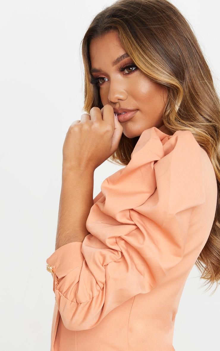 Terracotta Ruched Sleeve Gold Button Blazer Dress 3