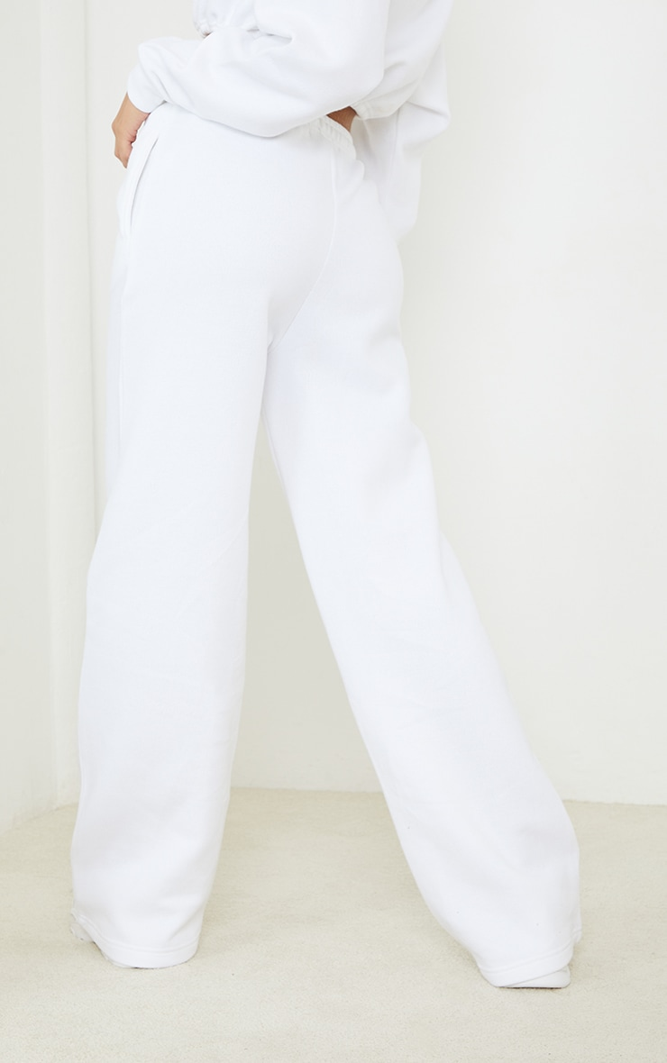 White Drawstring Wide Leg Joggers 3