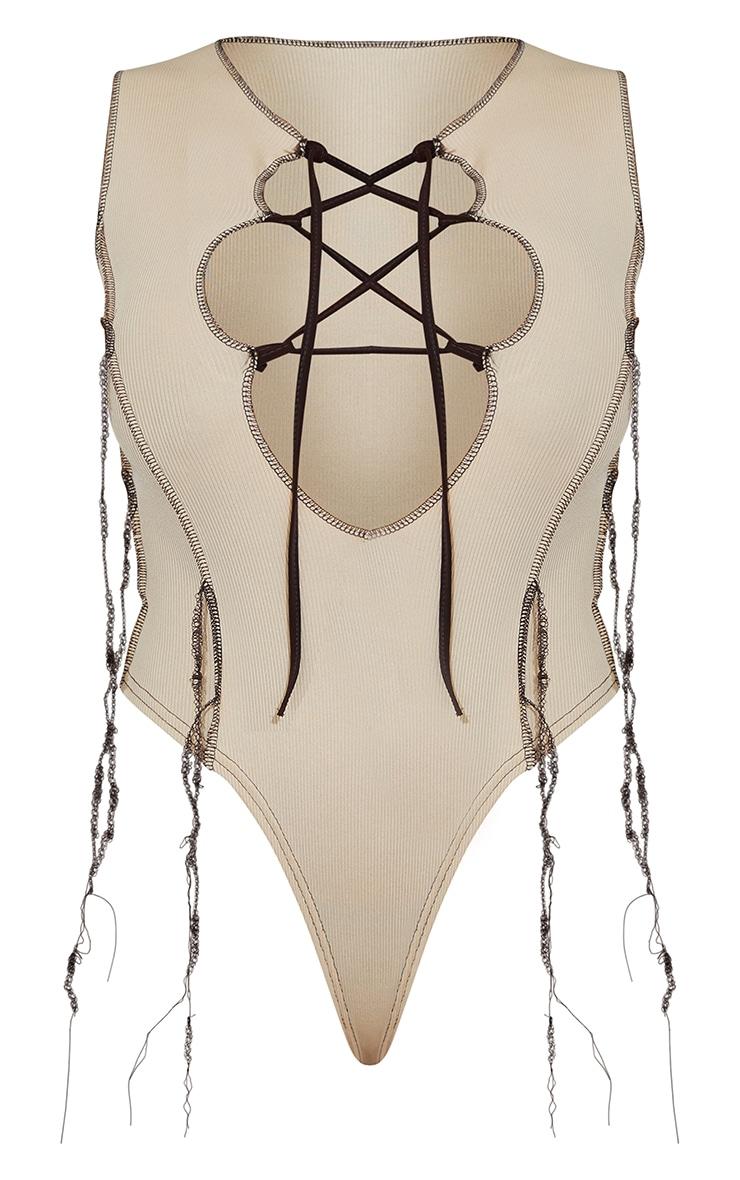 Shape Stone Rib Overlock Seam Lace Up Sleeveless Bodysuit 5