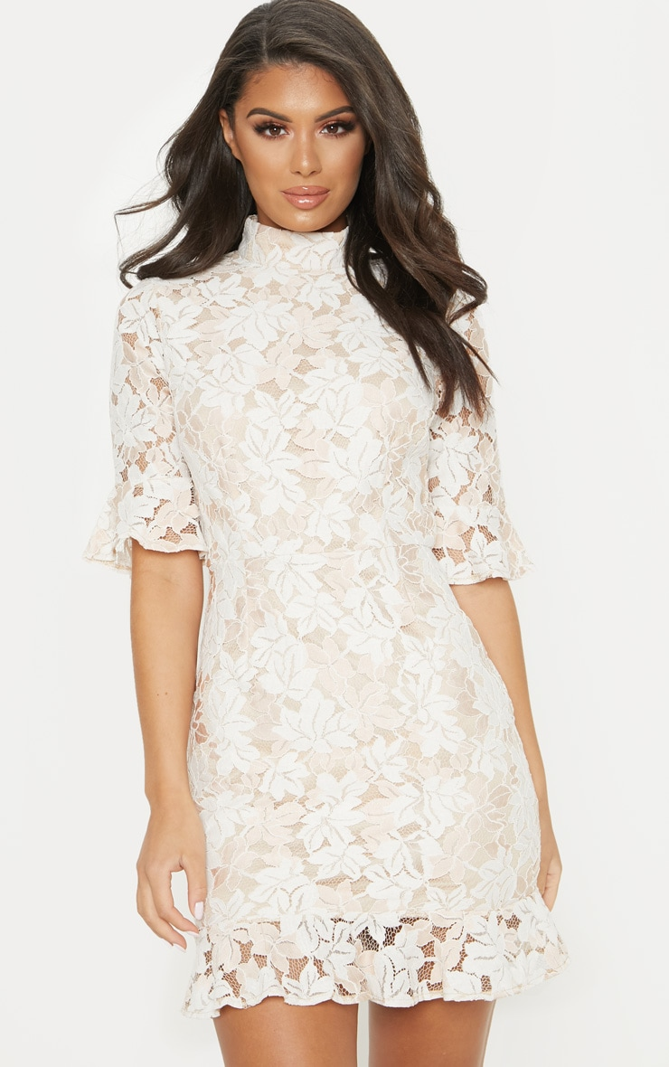 Nude Lace Frill Sleeve High Neck Bodycon Dress 1