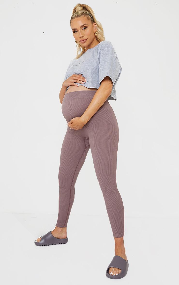 Maternity Mauve Contour Bump Support Ribbed Leggings 1