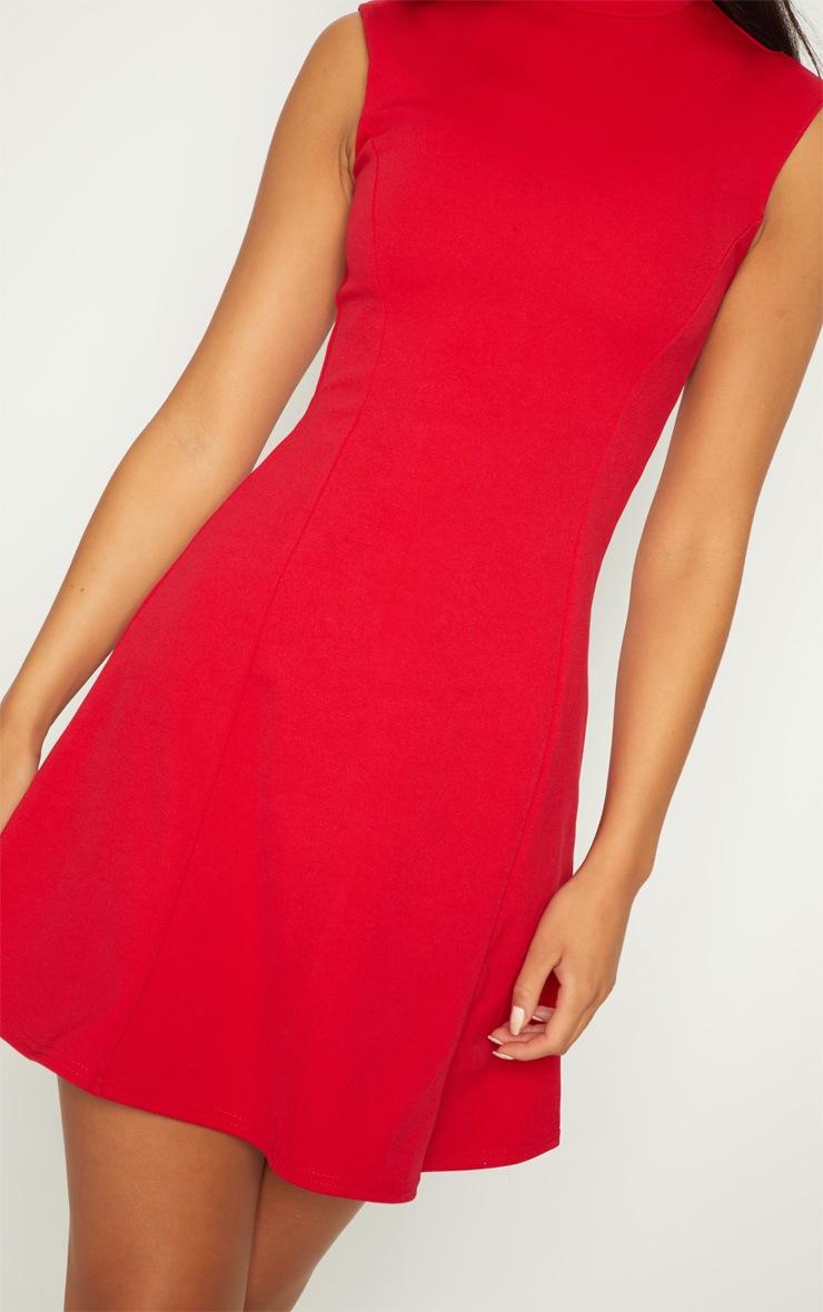 Red High Neck Shoulder Pad Detail Skater Dress 5