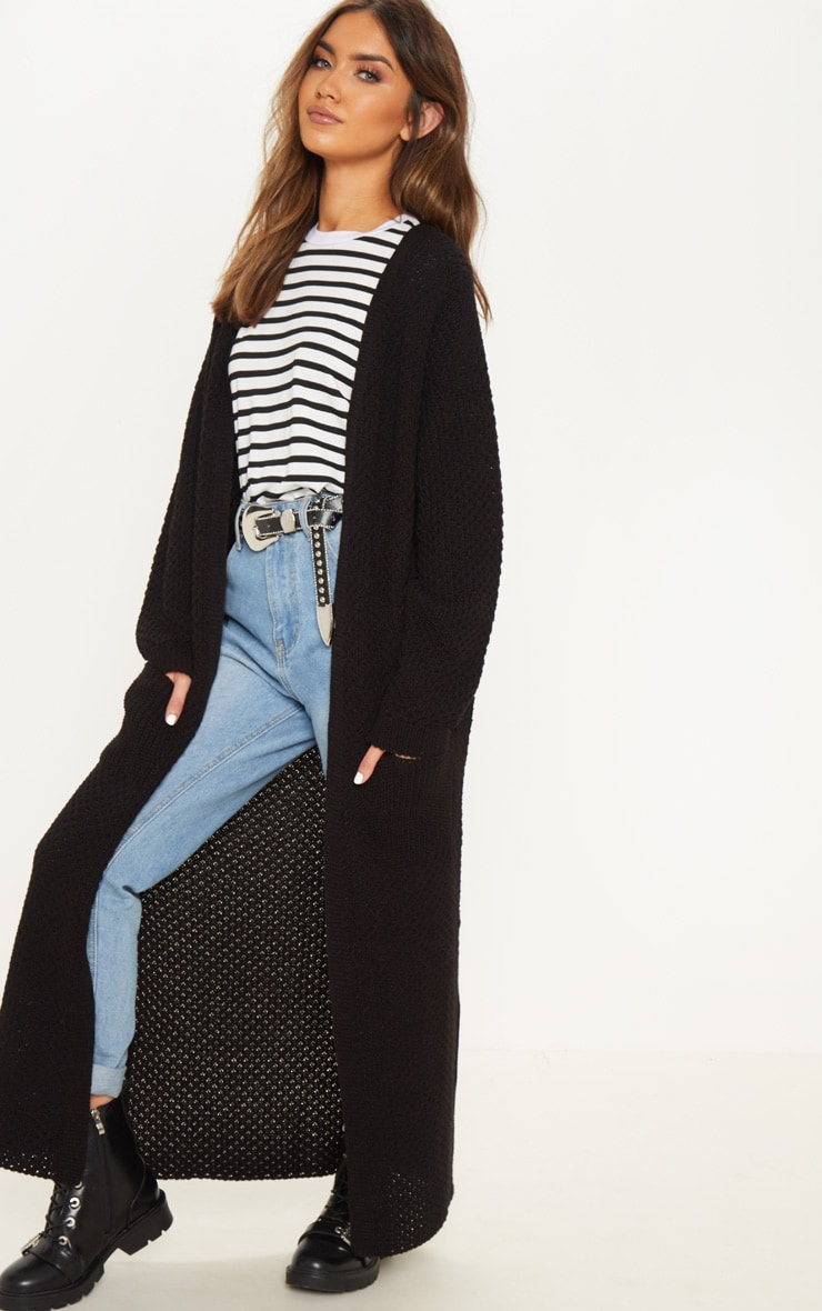 Black  Chunky Knit Maxi Cardigan  4