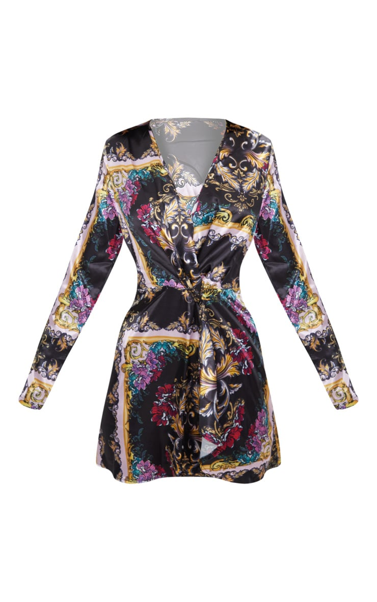 Pink Scarf Print  Long Sleeve Wrap Dress  2