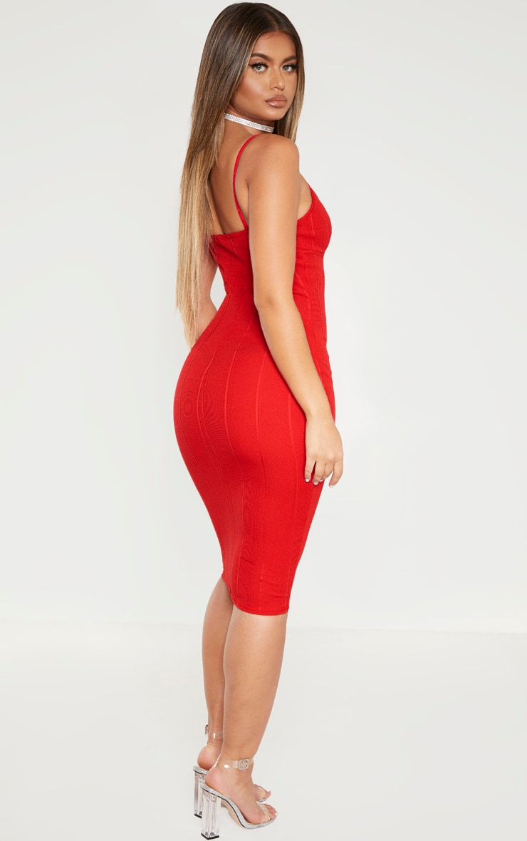 Red Bandage Strappy Cup Detail Midi Dress 2