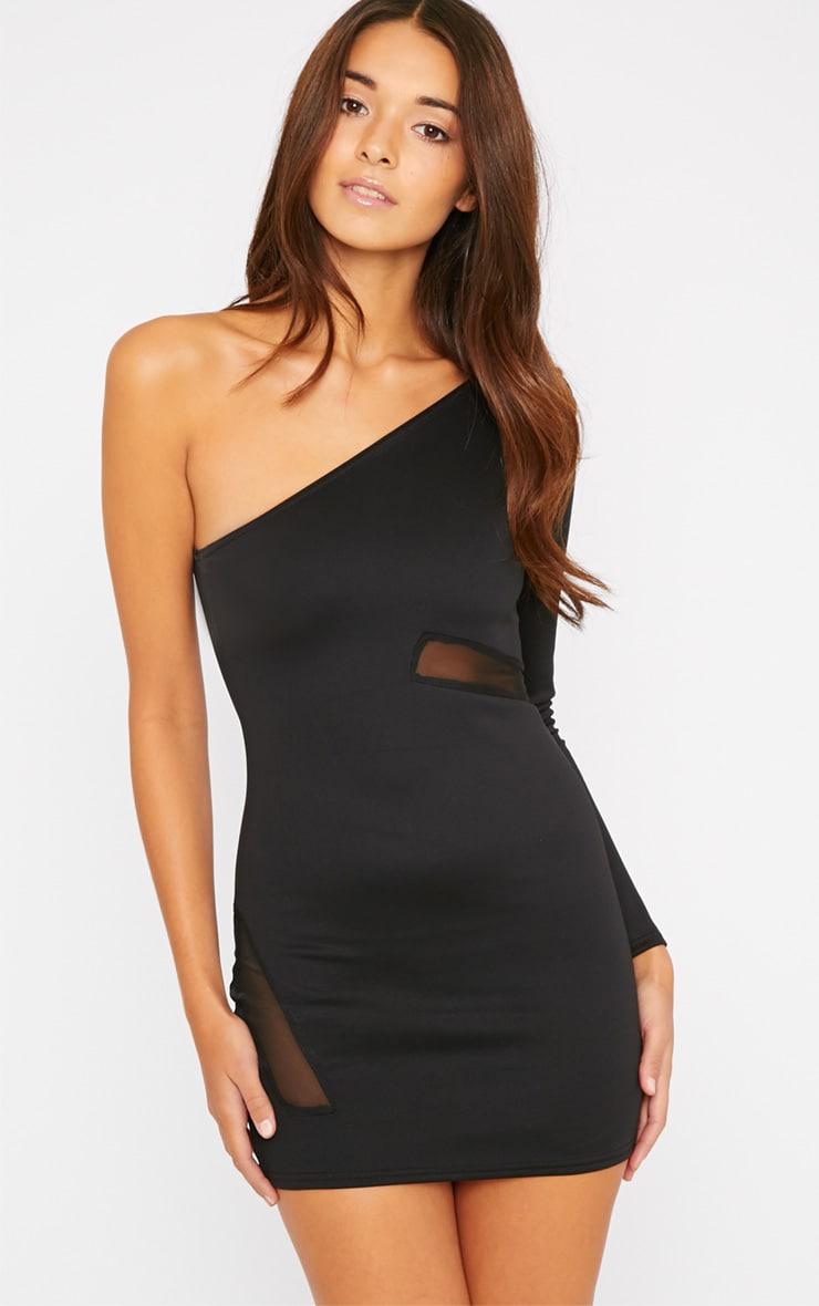 Skyla Black One Shoulder Mesh Insert Mini Dress 1