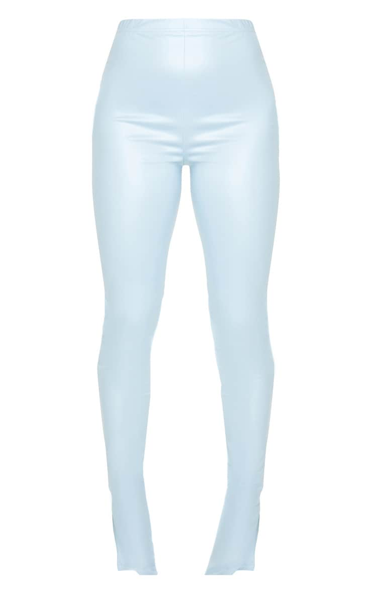 Petite Baby Blue Split Hem Coated PU Leggings 5