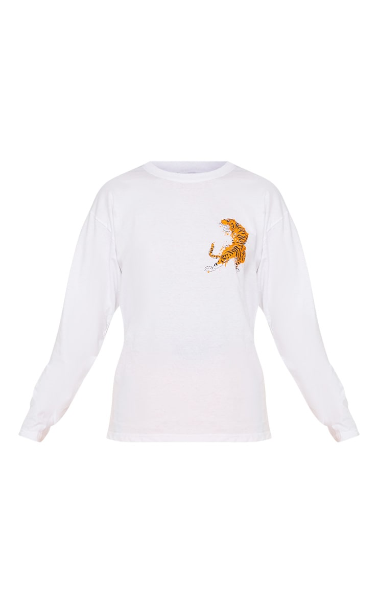 White Tiger Print Long Sleeve T shirt 3