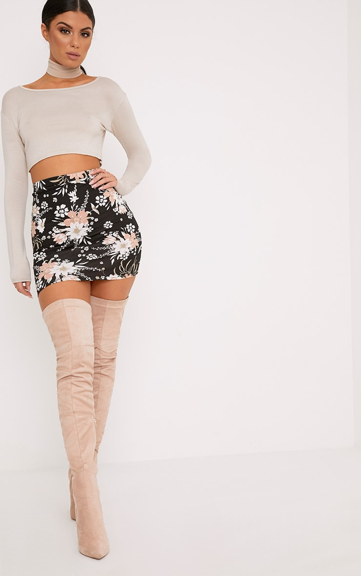Donya Black Floral Print Mini Skirt 5