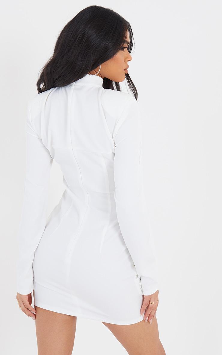 White High Neck Corset Detail Wrap Skirt Bodycon Dress 2