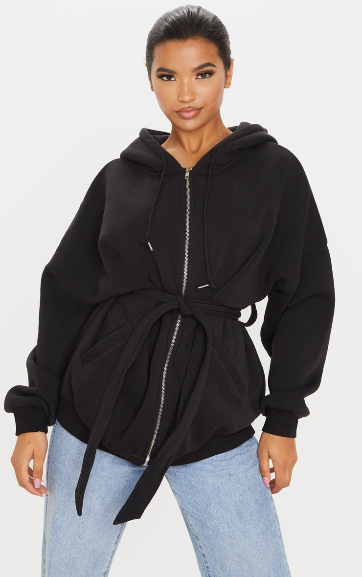 Black Oversized Belted Sweat Hoodie 1