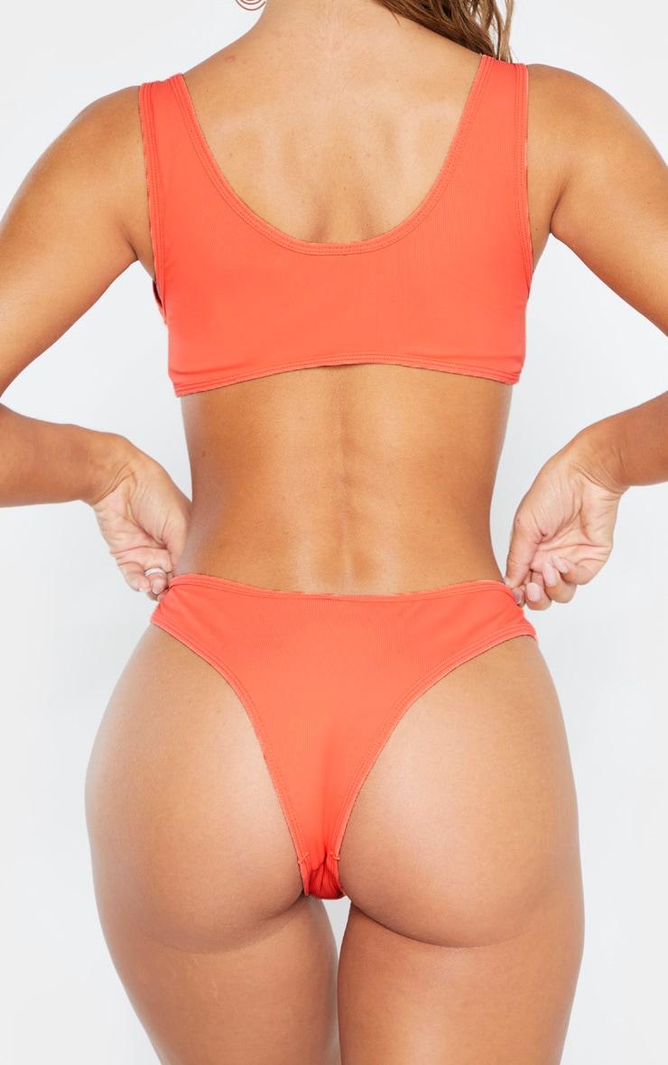 Coral High Leg Rib Bikini Bottom 3