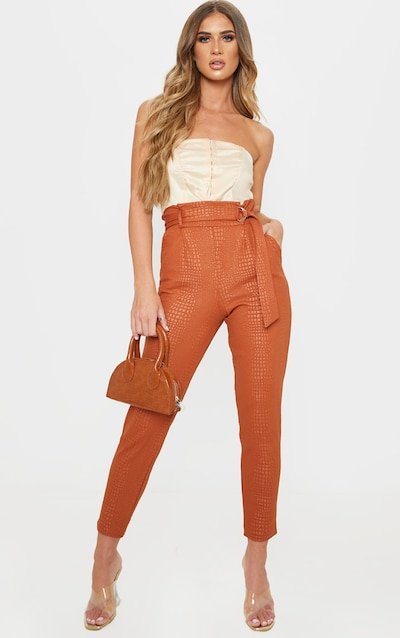 Tan Croc Print D Ring Belted Skinny Trousers