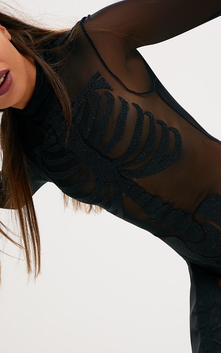 Body-string noir imprimé squelette à perles  3