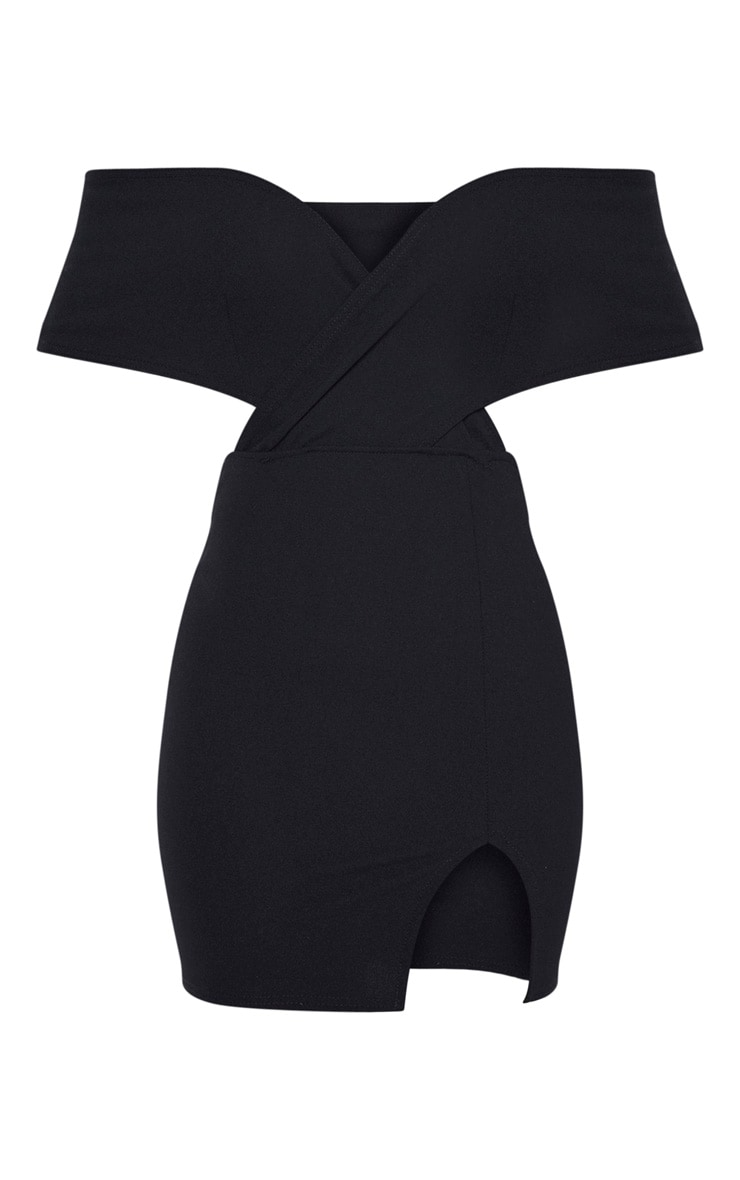 Black Bardot Thigh Split Bodycon Dress 3