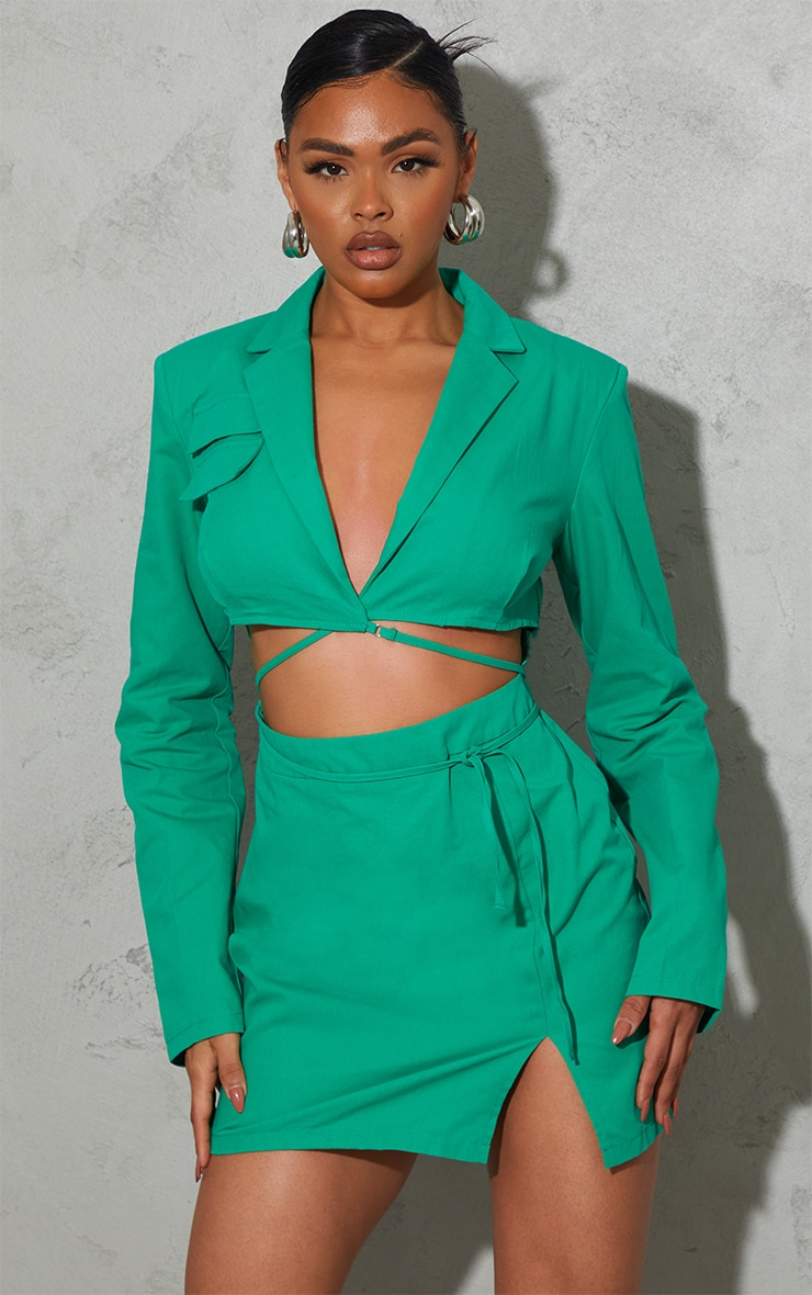 Green Woven Cut Out Tie Waist Utility Style Blazer Bodycon Dress 1