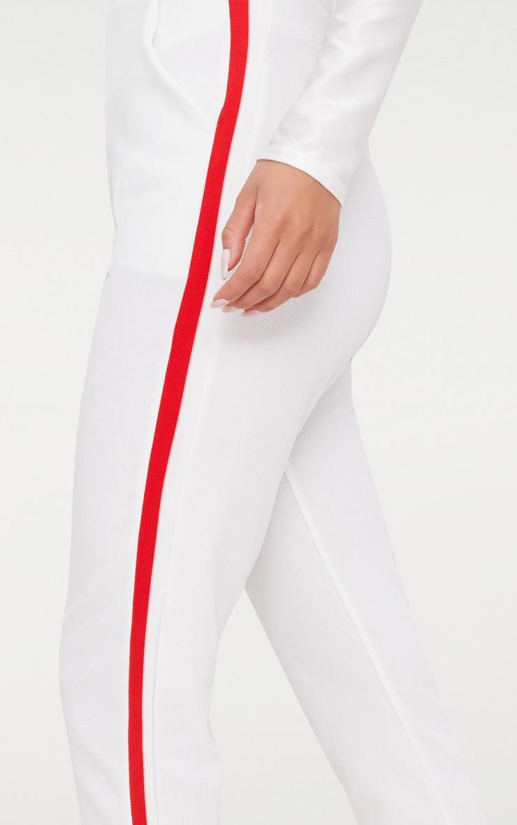 White Sport Stripe Cigarette Trousers  4