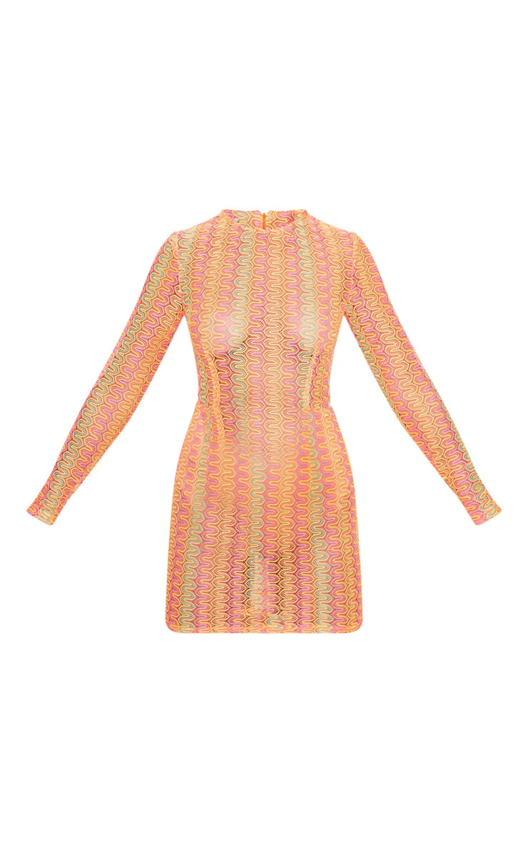 Petite Neon Pink Crochet Shift Dress 3