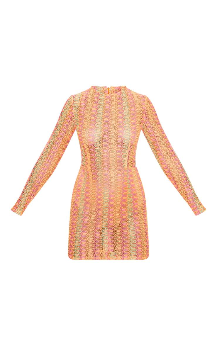 Petite- Robe droite en crochet orange et rose 3
