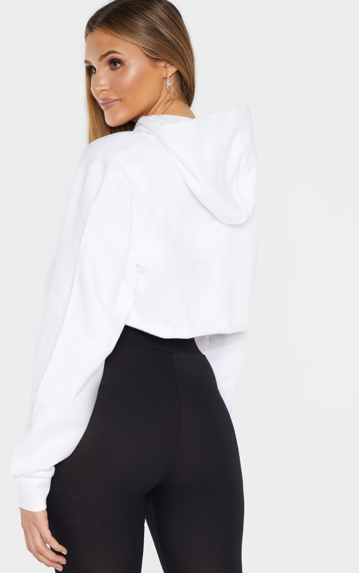 PRETTYLITTLETHING Tall White Embroidered Crop Hoodie  2