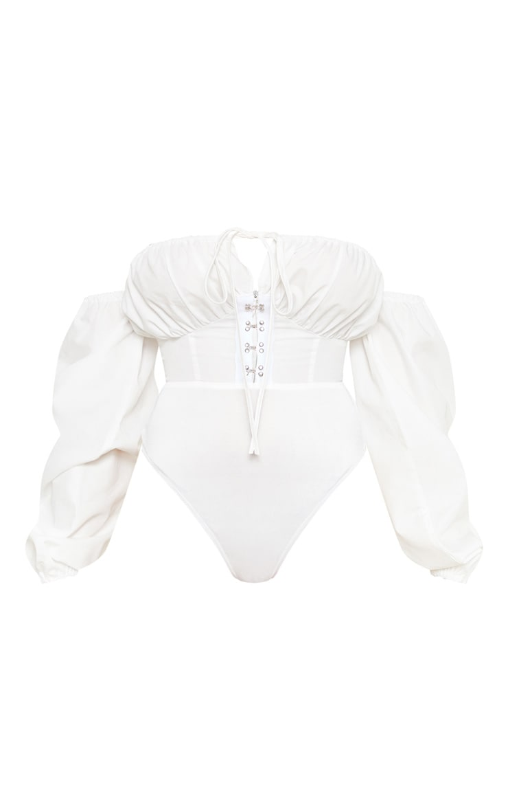Petite White Hook & Eye Bardot Long Sleeve Bodysuit 3