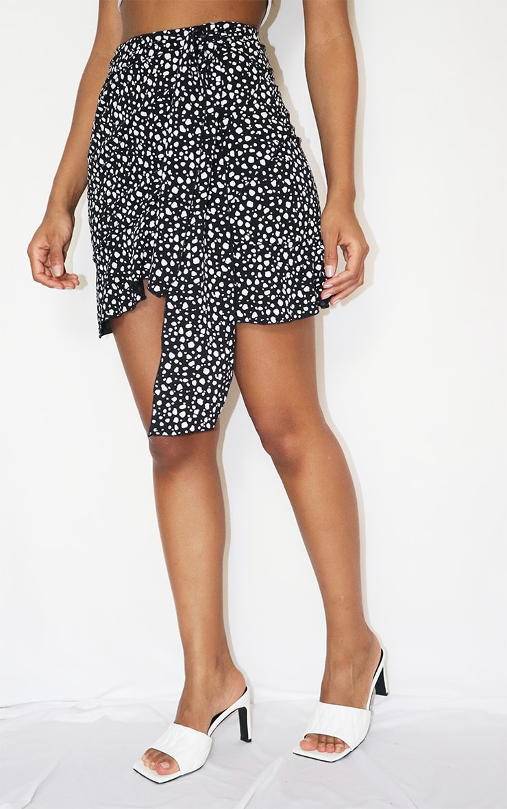 Black Dalmatian Print Tie Detail Frill Edge Wrap Mini Skirt 2