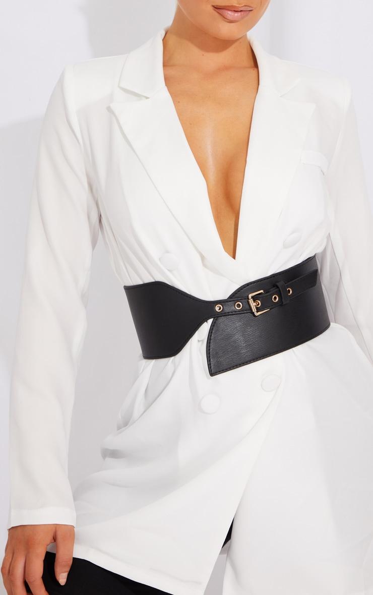 Black PU Chunky Waist Belt 1