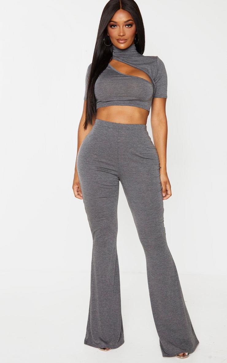 Shape Grey Jersey High Waist Flared Pants 1