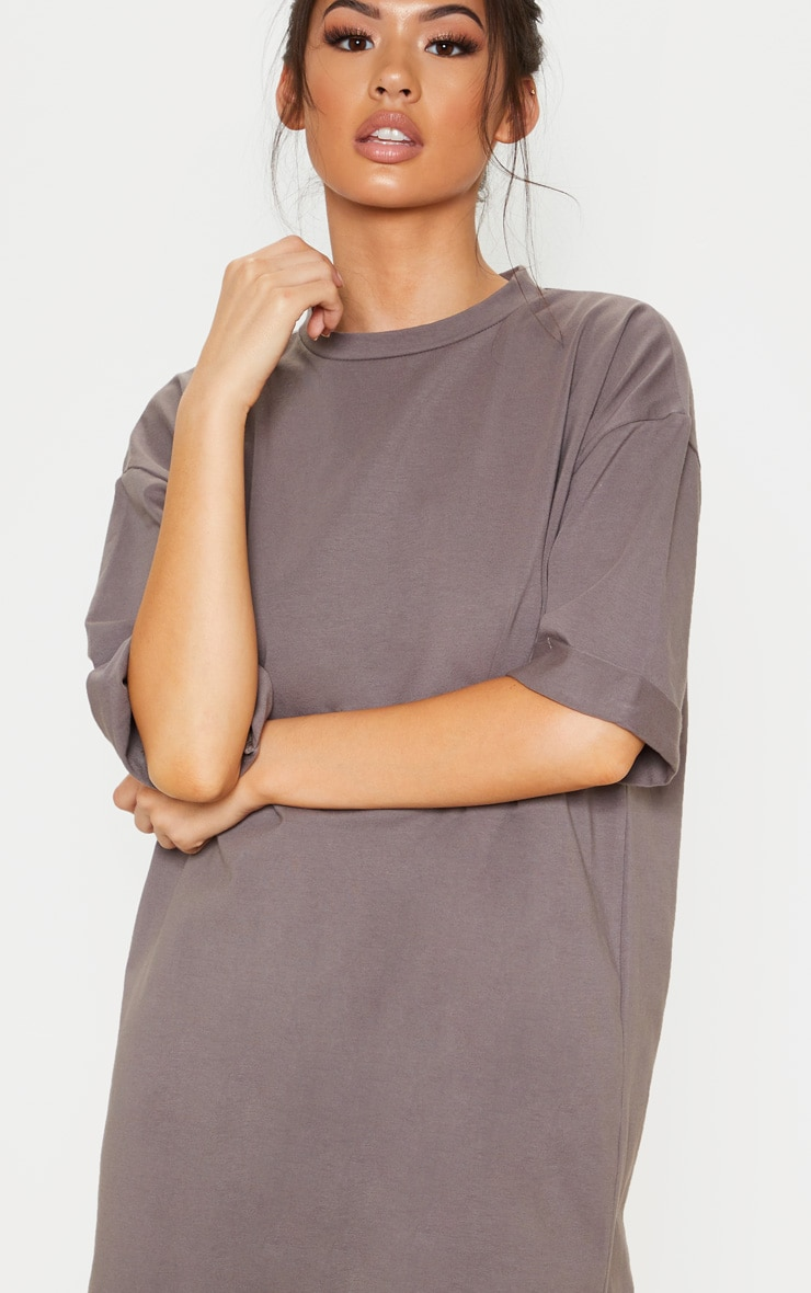 Charcoal Oversized Boyfriend T Shirt Dress 5