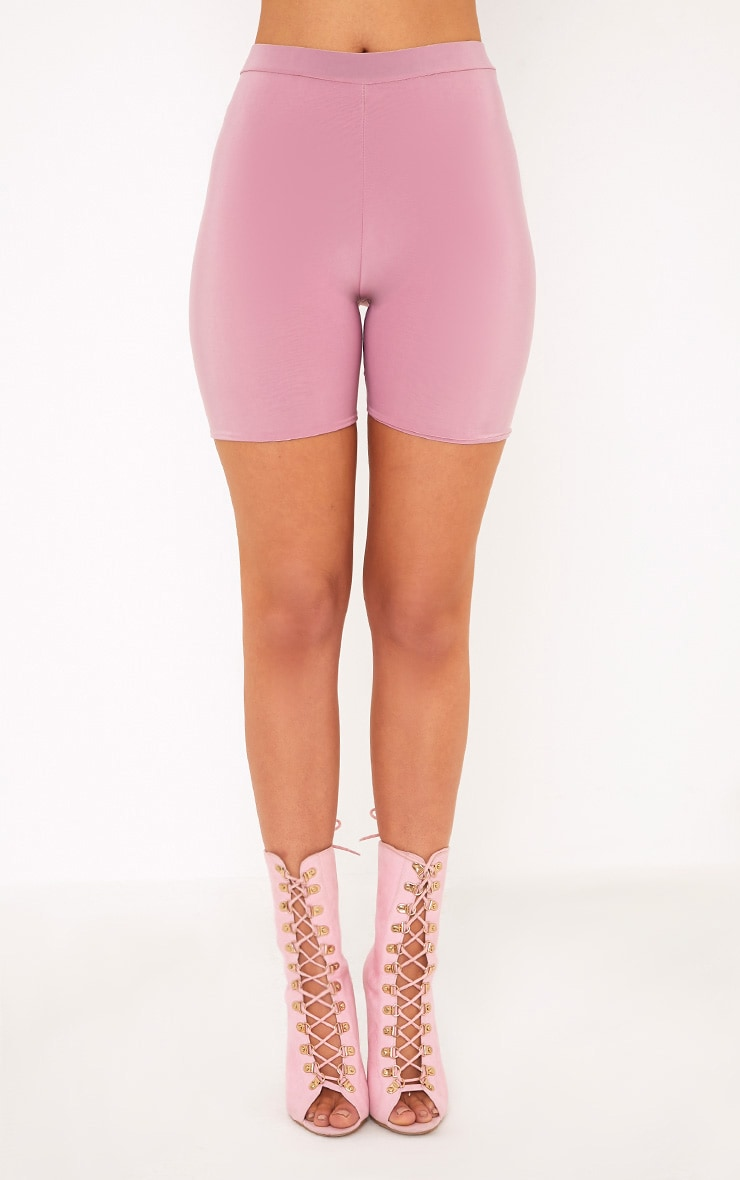Bella Pink Slinky High Waisted Cycle Shorts 2