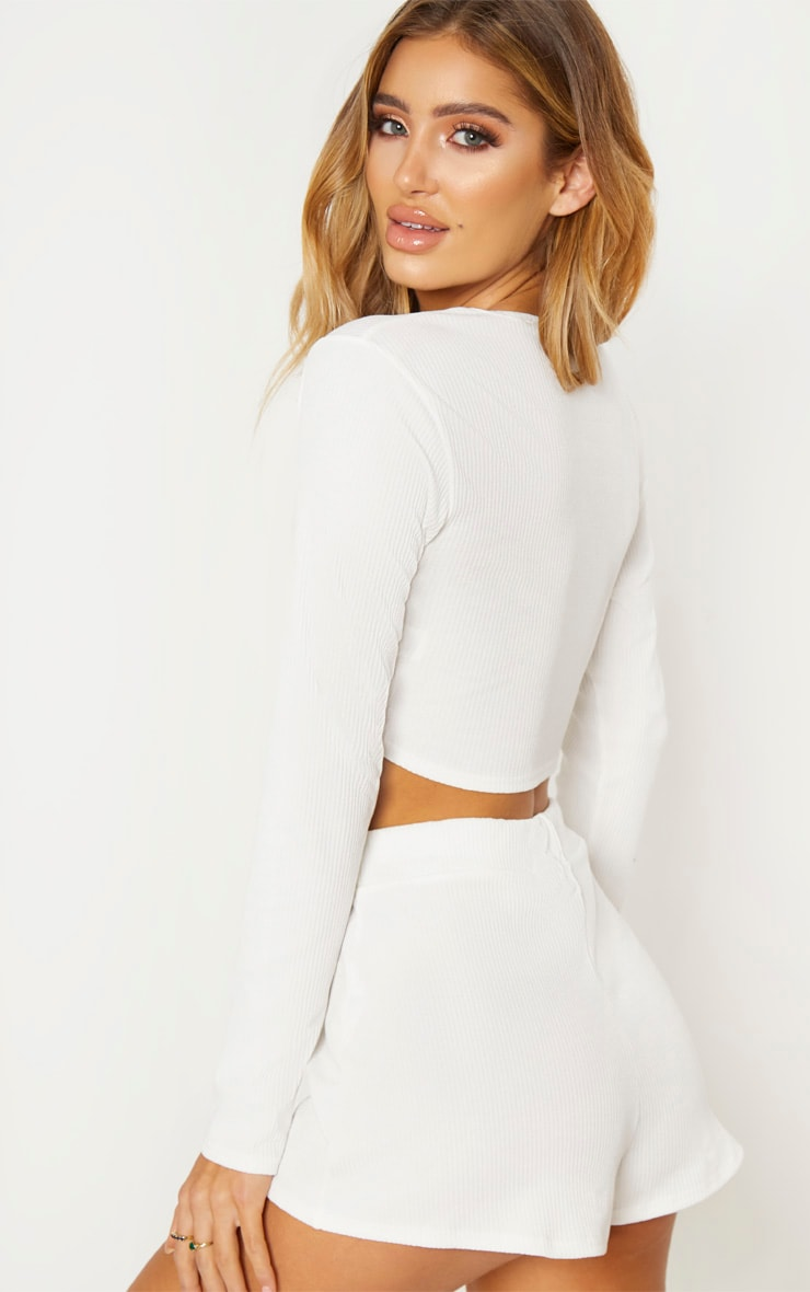 Cream Rib Button Detail Crop Top 3