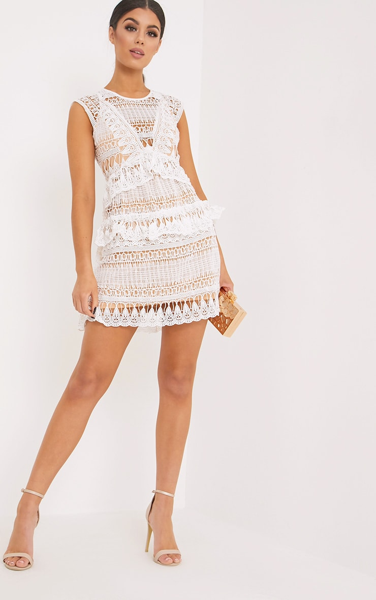 Rayna White Lace Frill Detail Mini Dress 1