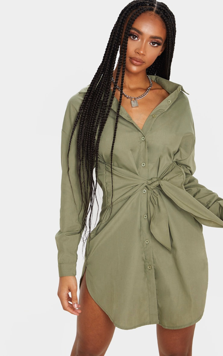 Khaki Tie Front Long Sleeve Shirt Dress 1
