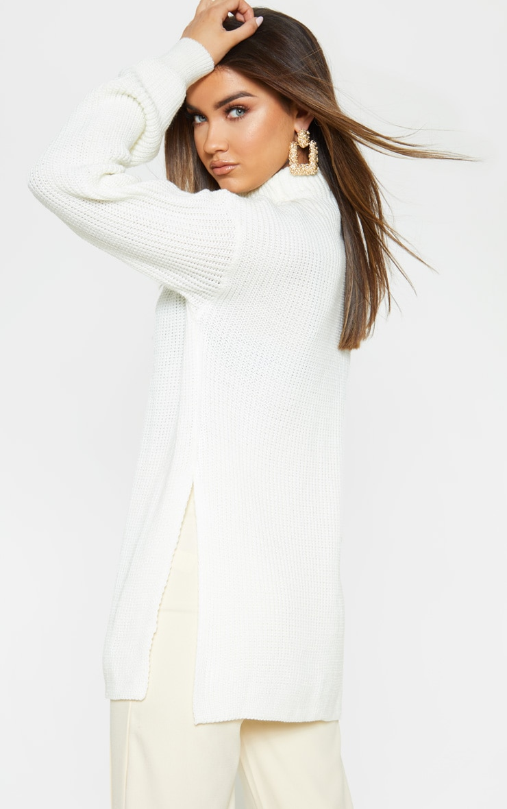 Cream High Neck Oversized Sweater 2