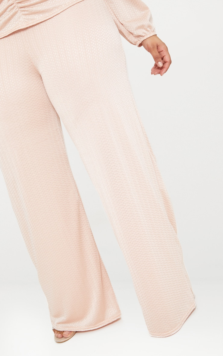 Plus Champagne Textured Wide Leg Trousers 5