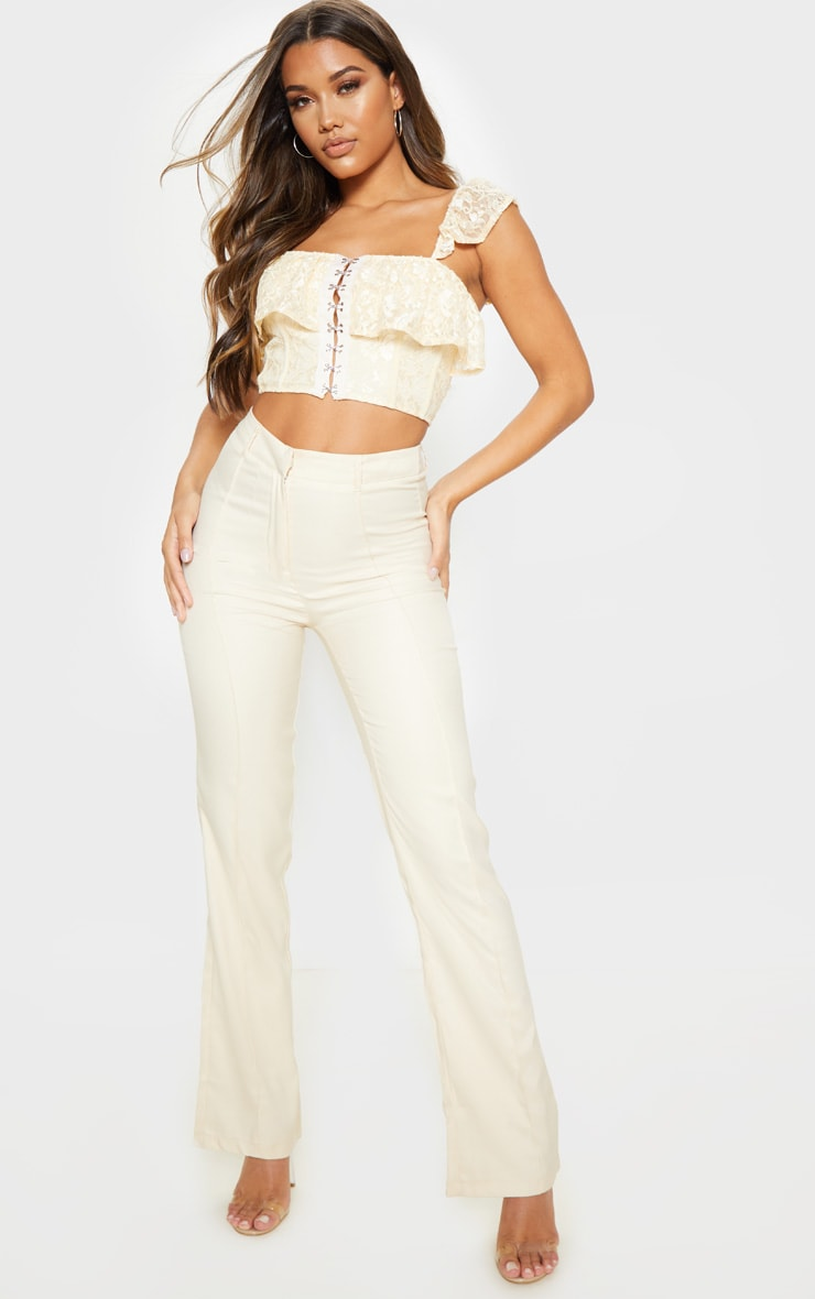 Cream Lace Hook and Eye Frill Strap Crop Top 4