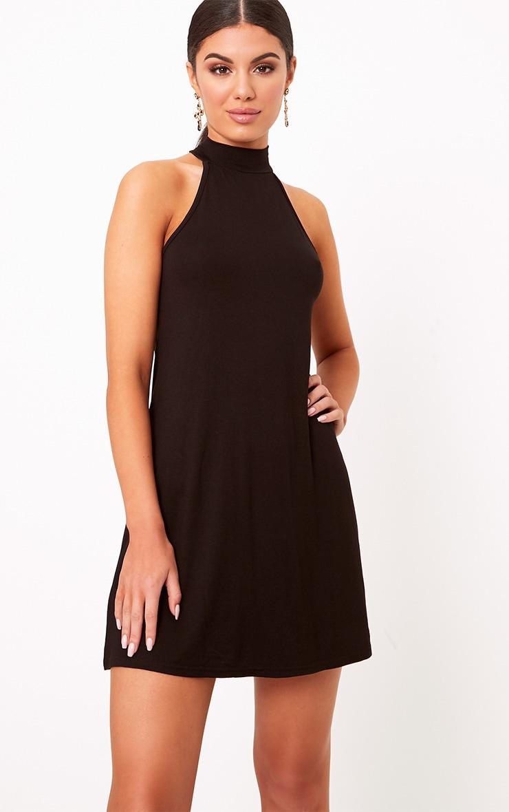 Black Jersey High Neck Swing Dress 1