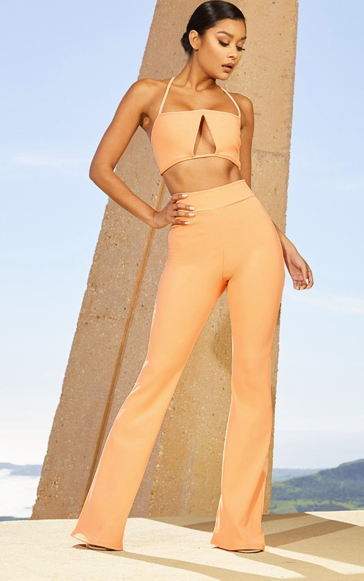 Peach Second Skin Rib Extreme High Waist Flare Trousers
