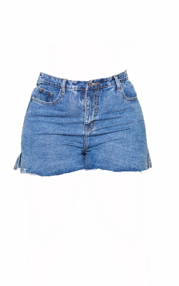 Plus Mid Blue Wash Split Hem Mom Shorts 6
