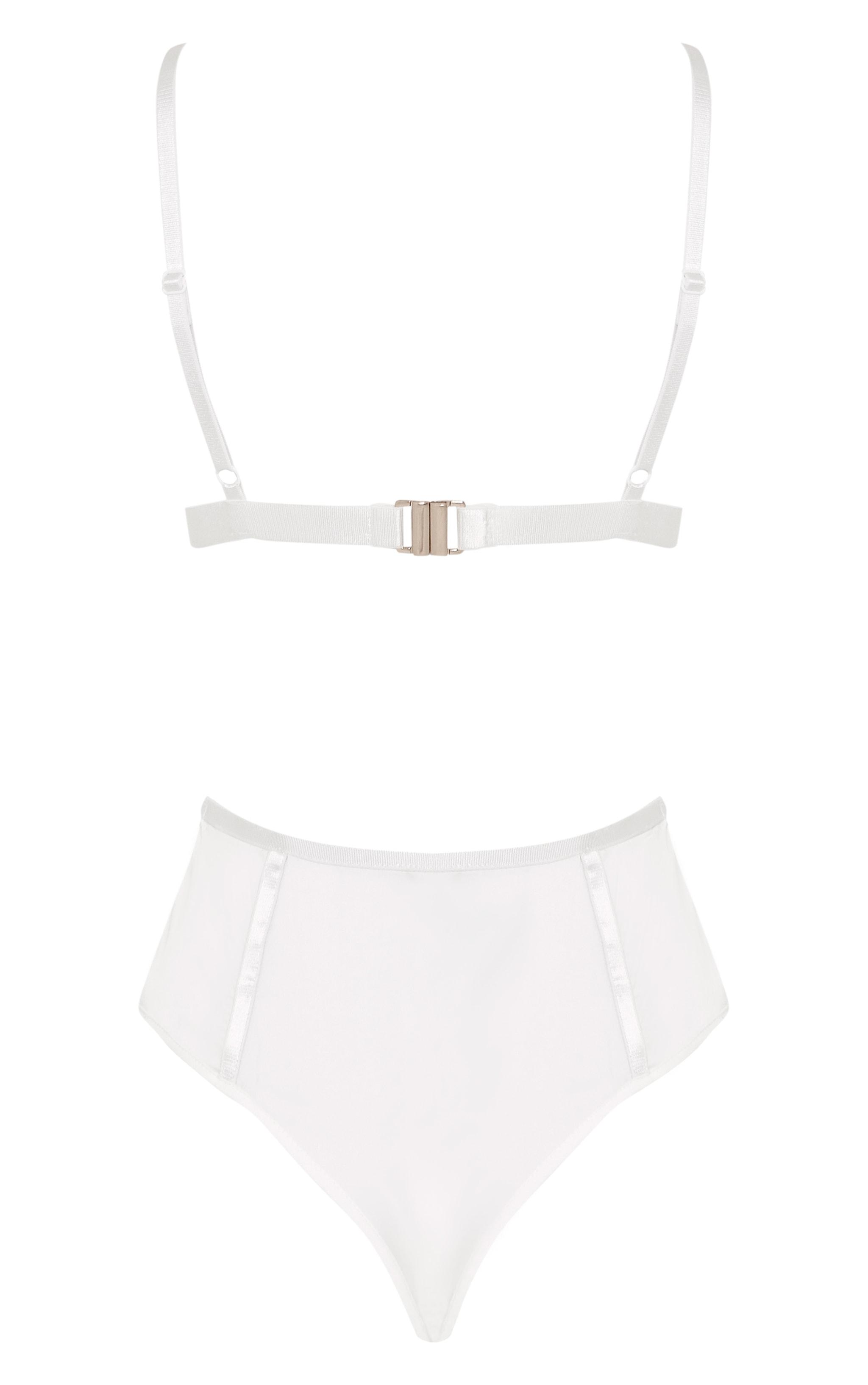 Analia White Lace Backless Thong Bodysuit 3