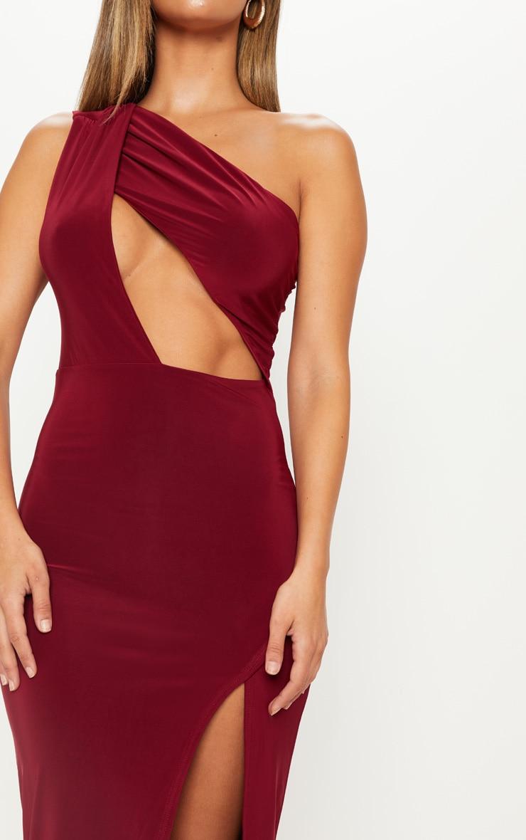 Wine Slinky One Shoulder Drape Midi Dress 5