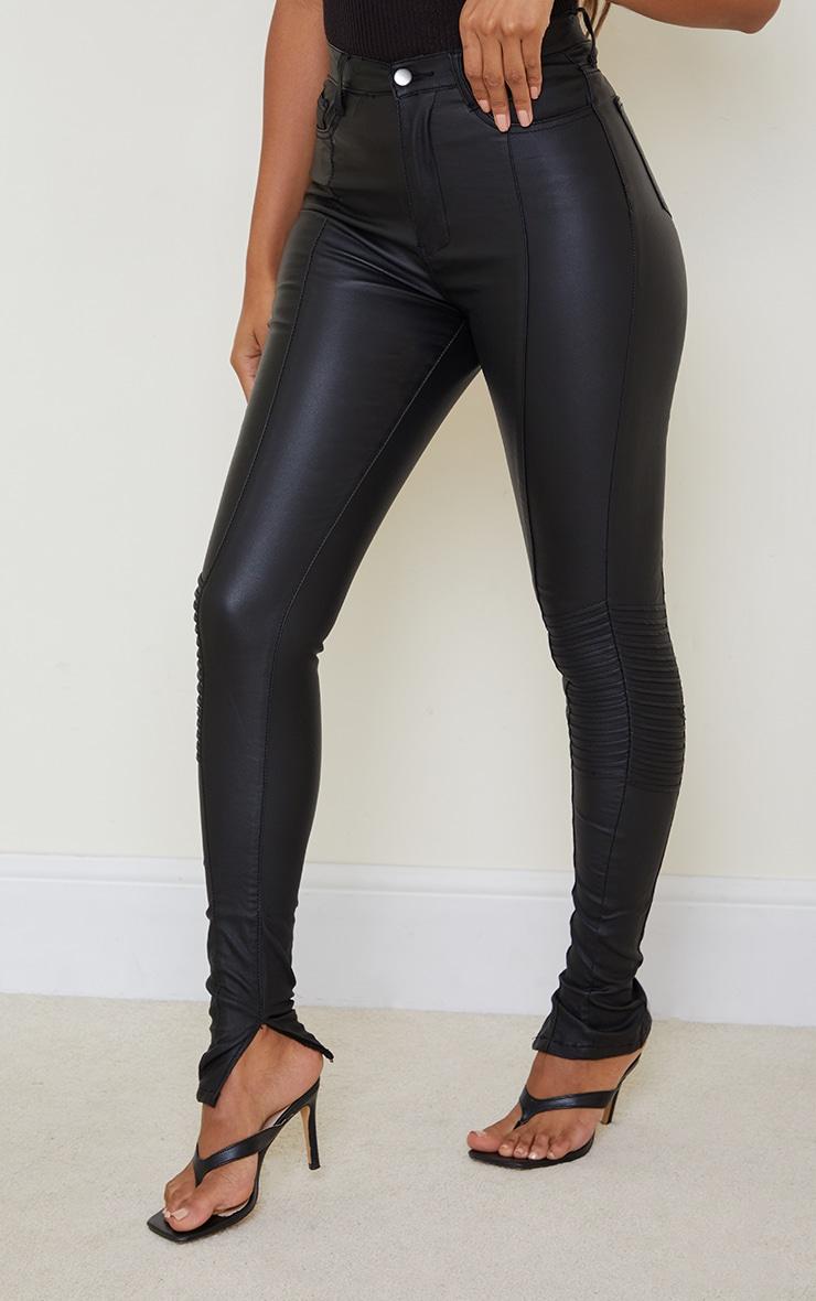 Black Coated Denim Long Leg Split Hem Biker Jean 2