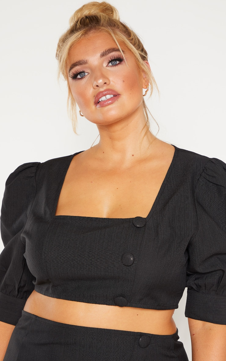Plus Black Woven Square Neck Puff Sleeve Crop Top 5