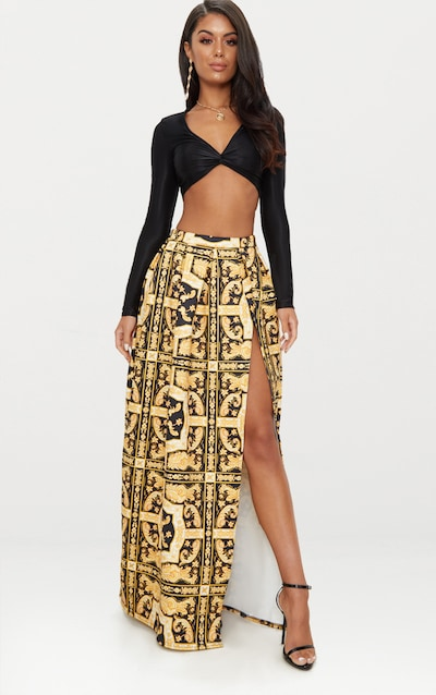 Gold Chain Print Scuba Maxi Skirt